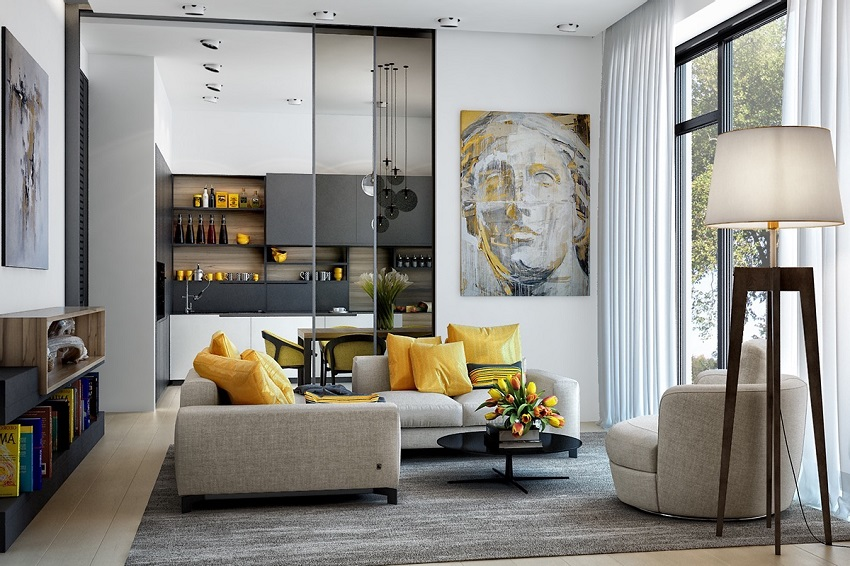 Two ways to decorate the living room with yellow