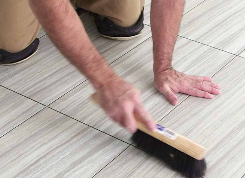 Clean the joints between the tiles