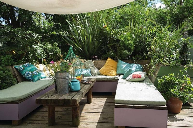 A bohemian-style garden or balcony